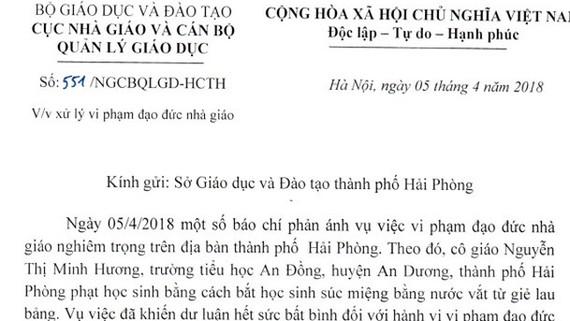 Công văn của Bộ GD-ĐT gửi Sở GD-ĐT Hải Phòng