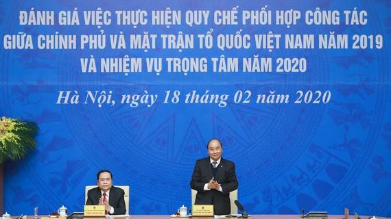 Cuộc làm việc giữa Chính phủ và Ủy ban Trung ương MTTQ Việt Nam chiều 18-2