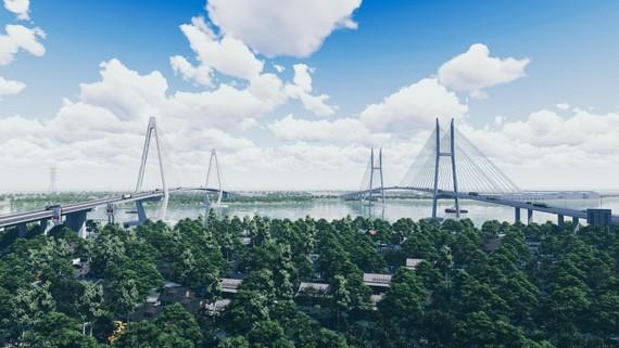 Phối cảnh cầu Mỹ Thuận 2, cách cầu Mỹ Thuận hiện hữu khoảng 350m. Ảnh: Bộ GTVT