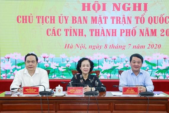 Hội nghị trực tuyến Chủ tịch Ủy ban MTTQ Việt Nam các tỉnh, thành phố năm 2020, ngày 8-7.