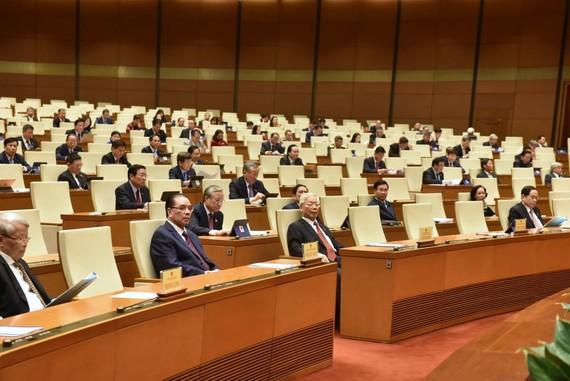 Các đồng chí lãnh đạo, nguyên lãnh đạo Đảng, Nhà nước dự phiên khai mạc Quốc hội sáng 20-10. Ảnh: QUANG PHÚC