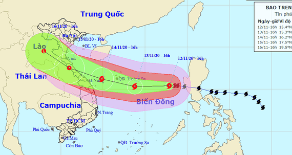 Dự báo đường đi của cơn bão số 13. Ảnh: TTDBKTTVQG