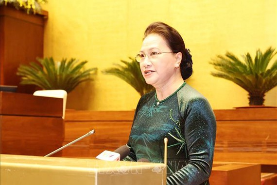 Chủ tịch Quốc hội Nguyễn Thị Kim Ngân phát biểu tại buổi gặp mặt. Ảnh: TTXVN