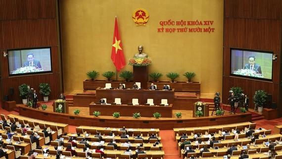 Toàn cảnh kỳ họp thứ 11 Quốc hội khóa XIV sáng 25-3. Ảnh: QUANG PHÚC