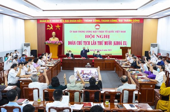 Hội nghị Đoàn Chủ tịch Ủy ban Trung ương MTTQ Việt Nam. Ảnh: VIẾT CHUNG