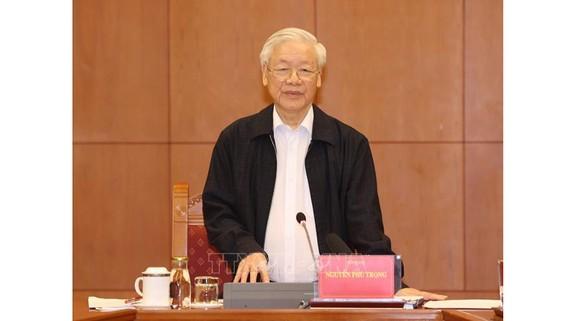 Tổng Bí thư, Chủ tịch nước Nguyễn Phú Trọng chủ trì cuộc họp của Thường trực Ban Chỉ đạo Trung ương về phòng, chống tham nhũng. Ảnh: TTXVN