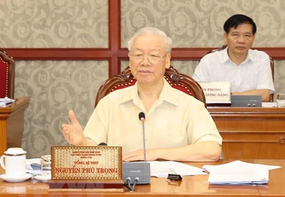 Tổng Bí thư Nguyễn Phú Trọng phát biểu kết luận cuộc họp. Ảnh: TTXVN