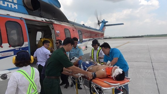 Helicopter flies patient ashore for emergency treatment