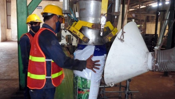 Workers produce organic fertilizer in a plant (Photo: SGGP)