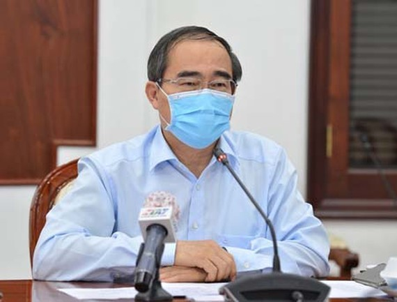 Party Chief Nguyen Thien Nhan delivered his speech at the teleconference about Covid-19 fight on April 20, 2020. (Photo: SGGP)