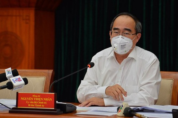 Party Chief Nguyen Thien Nhan at the online conference (Photo: SGGP)