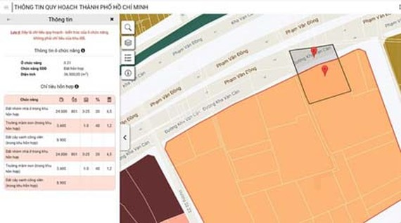 The new interface of the application 'HCMC Urban Planning Information'. (Photo: SGGP)
