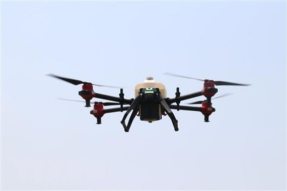A drone used for spraying pesticide. — VNA/VNS Photo