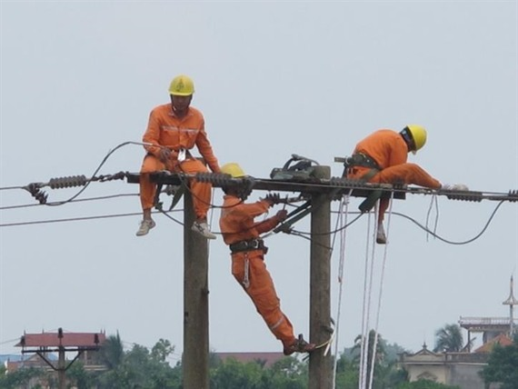 Workers of the Power Company of Bac Ninh check electrical cables. — VNA/VNS Photo