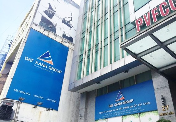 Logo of Dat Xanh Group (DXG) seen at its headquarters in HCM City. DXG rose 0.5 per cent on Friday. — Photo vtc.vn