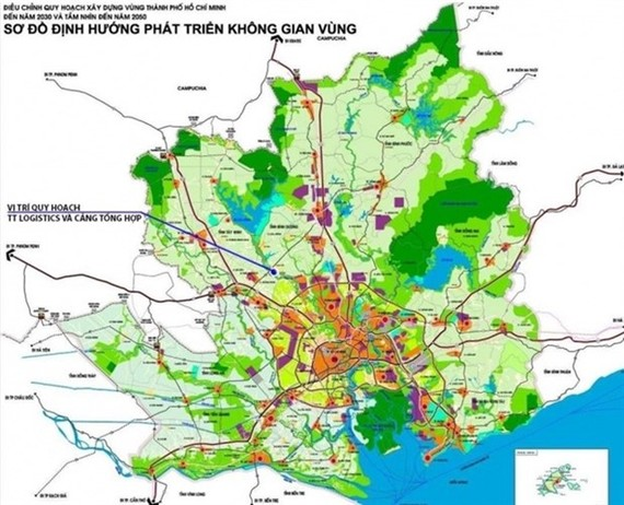 A planning map shows the location of a multifunctional complex with a logistics centre, container depot and a general port in Tay Ninh province (Photo: www.baogiaothong.vn)
