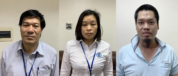 Nguyen Nhat Cam, former Director of the Hanoi Center for Disease Control (L) and two other defendants (Source: Ministry of Public Security)