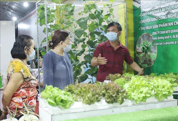 A member of a cooperative introduces agricultural produce (Photo: SGGP)