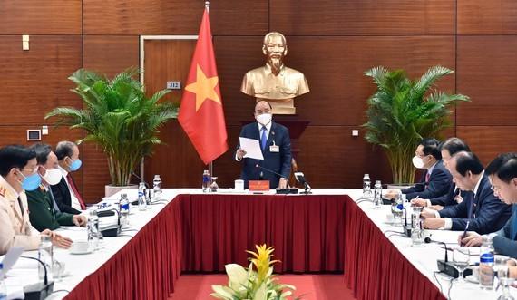 Vietnamese Prime Minister Nguyen Xuan Phuc at the meeting this morning (Photo: SGGP)