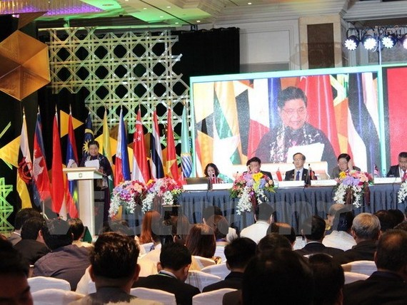 Vice Chairwoman of the Vietnamese National Assembly Tong Thi Phong speaks at the first plenary session of the AIPA-38 (Photo: VNA)