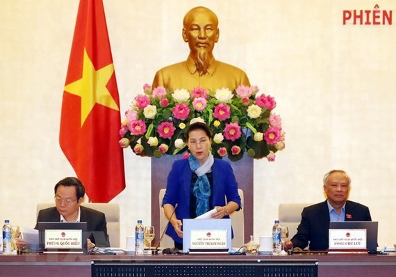 Chairwoman Nguyen Thi Kim Ngan chairs the 31st session of the 14th National Assembly Standing Committee (Photo: VNA)