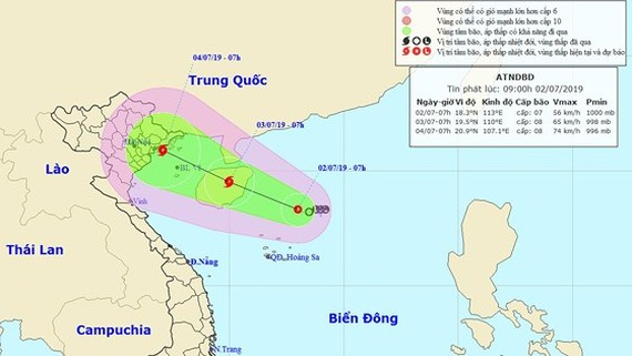 Tropical depression is powerfully operating in the East Sea