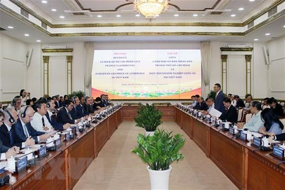 A meeting between the city leaders and EuroCham (Photo:VNA)
