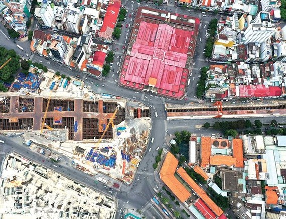 Quanh Thi Trang roundabout area has been replaced for Metro Line No. 1 project