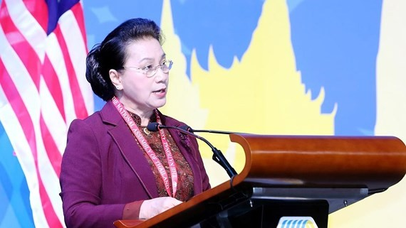 National Assembly Chairwoman Nguyen Thi Kim Ngan speaks at the first plenary session of the ASEAN Inter-Parliamentary Assembly (AIPA)'s 40th General Assembly on August 26. (Source: VNA)