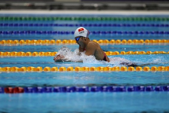 Anh Vien in the women's 400-m- individual medley finals (Photo:DUNG PHUONG)