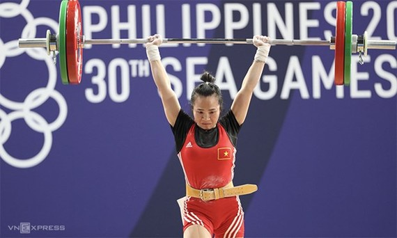 Weightlifter Vuong Thi Huyen is the only youth representing athletes in the list. (Photo: vnexpress.net)