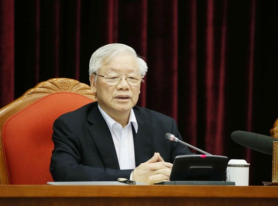 Party General Secretary and State President Nguyen Phu Trong speaks at a meeting in Hanoi on April 23 (Photo: VNA)