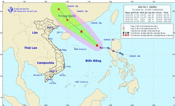 Tropical storm enters the East Sea (Photo:the National Hydrology Meteorology Forecast Center)