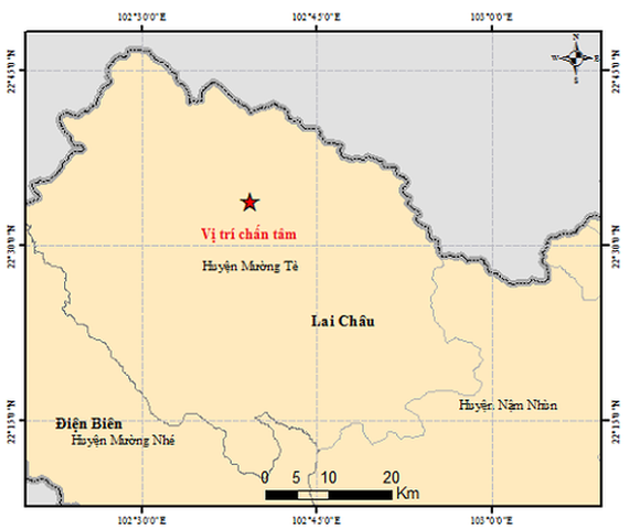Map of epicenter location (Photo: the Earthquake Information and Tsunami Warning Center)
