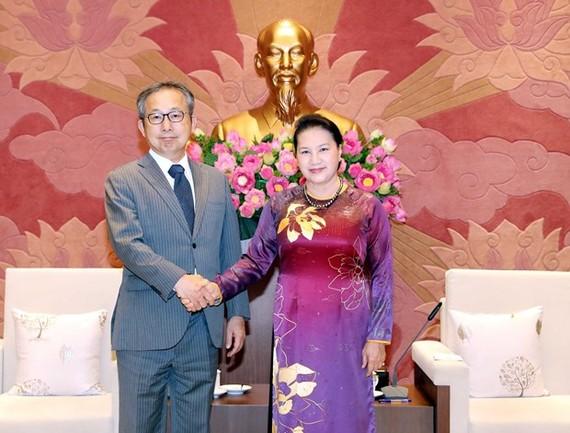 National Assembly Chairwoman Nguyen Thi Kim Ngan (R) meets with Japanese Ambassador Yamada Takio on June 30 (Photo: VNA)