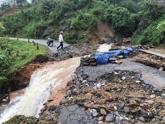 Huge flooding separates traffic roads through Bat Xat District, Lao Cai Province