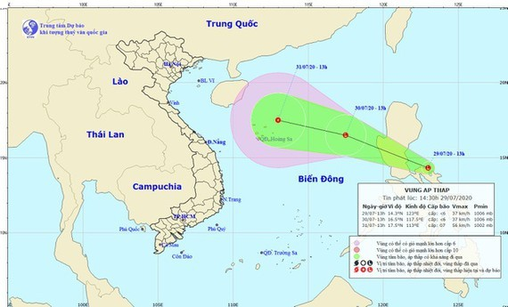 A tropical low-pressure zone forms near East Sea