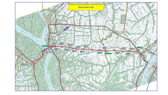 Map of My Thuan- Can Tho expressway project (Source: Transport Engineering Construction and Quality Management Bureau)