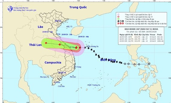 Path map of storm Noul on September 18
