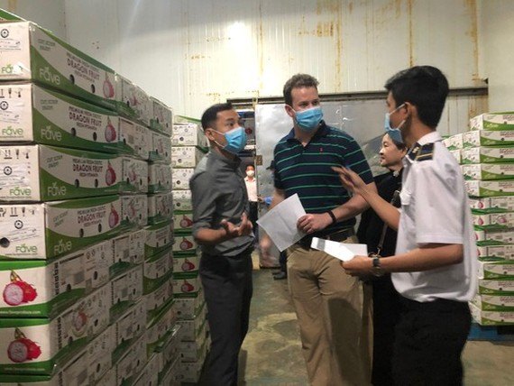 Staffs of the Vietnamese Plant Protection Department and US experts check shipments of Vietnamese fresh fruits