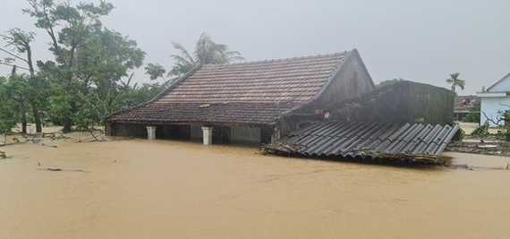 Houses are trapped under deep floodwater