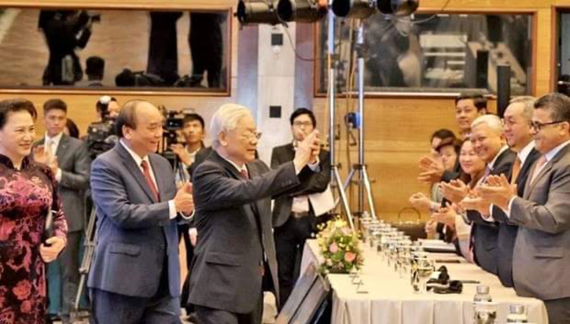 Party General Secretary and State President Nguyen Phu Trong, Prime Minister Nguyen Xuan Phuc, and Chairwoman of the National Assembly Nguyen Thi Kim Ngan attend the opening ceremony of the 37th ASEAN Summit. (Photo: VNA)