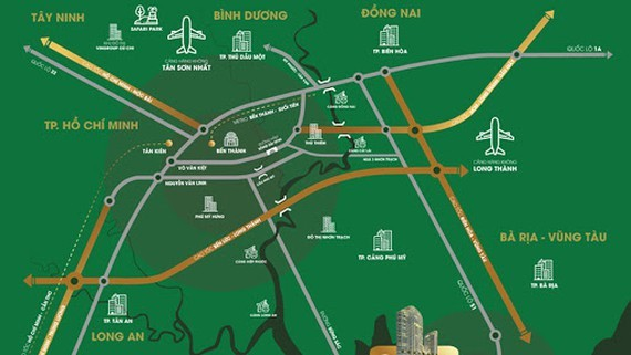 Traffic routes will directly connect to the Long Thanh international airport