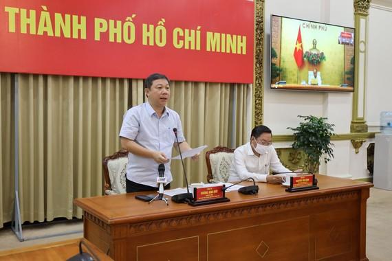 Phó Chủ tịch UBND TPHCM Dương Anh Đức phát biểu tại điểm cầu TPHCM