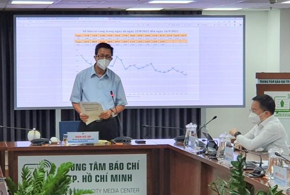Phó Trưởng Ban Chỉ đạo phòng chống dịch Covid-19 TPHCM Phạm Đức Hải thông tin tại buổi họp báo