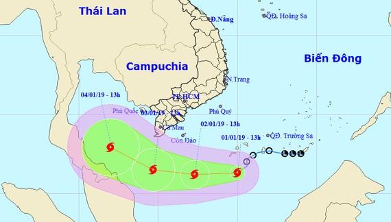 Dự báo đường đi của cơn bão số 1 - Pabuk. Ảnh: TTDBKTTVQG