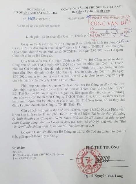 Dự án Khu dân cư Hòa Lân: Bộ Công an phát hiện chữ ký giả trong hồ sơ của Công ty Thiên Phú