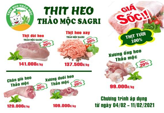 Sagrifood giảm 20% giá thịt heo thảo mộc dịp tết