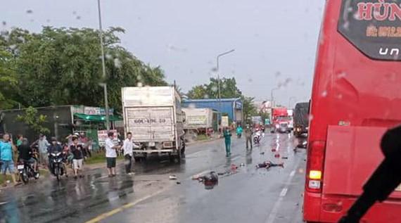 Hiện trường vụ tai nạn giao thông. Ảnh: Báo Đồng Nai