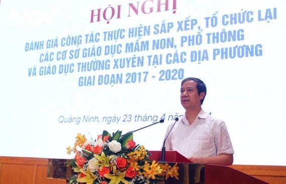 Bộ trưởng Bộ GD-ĐT Nguyễn Kim Sơn phát biểu tại hội nghị. Ảnh: VOV